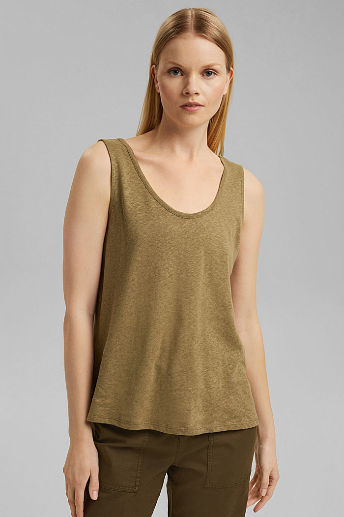Linen blend: sleeveless top, LIGHT KHAKI, detail image number 0
