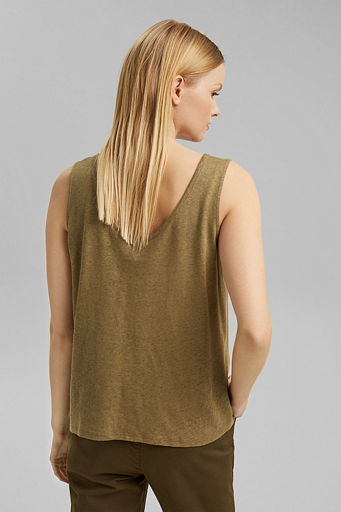 Linen blend: sleeveless top, LIGHT KHAKI, detail image number 3