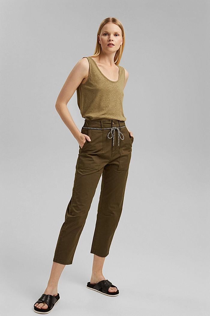 Linen blend: sleeveless top, LIGHT KHAKI, detail image number 4