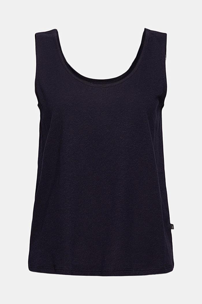 Linen blend: sleeveless top, NAVY, detail image number 6
