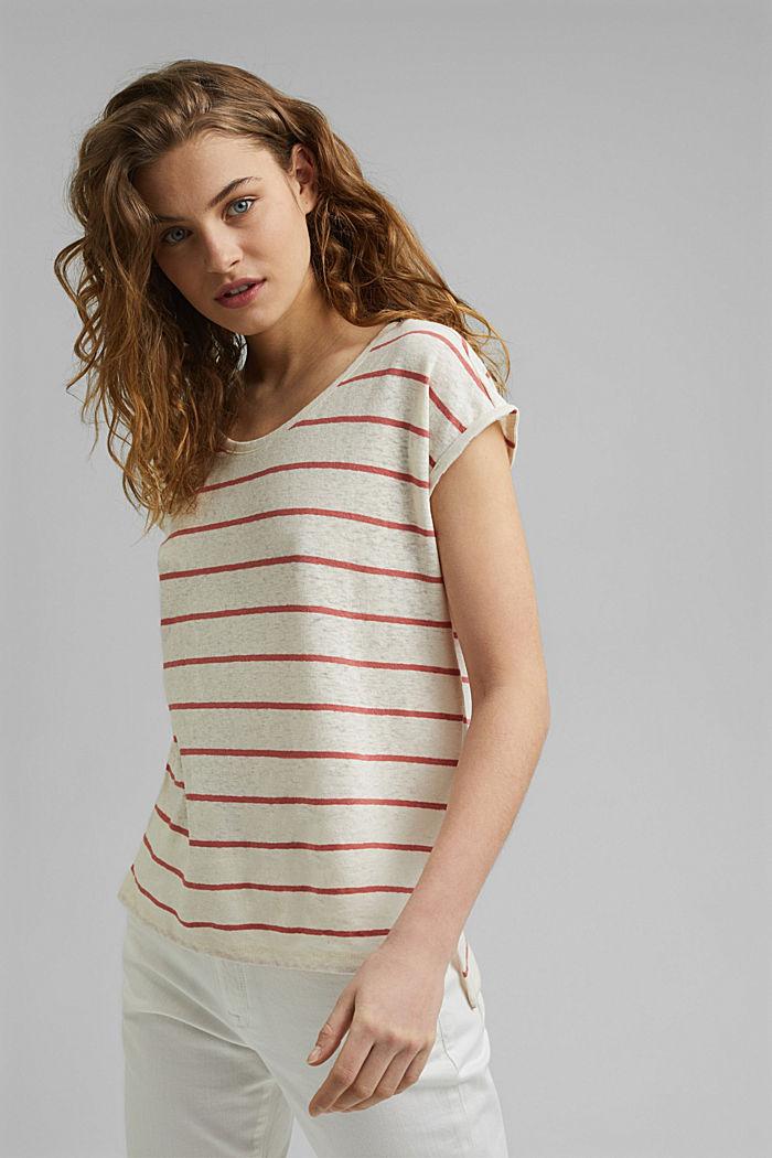 Met linnen: T-shirt met strepen, OFF WHITE, detail image number 0