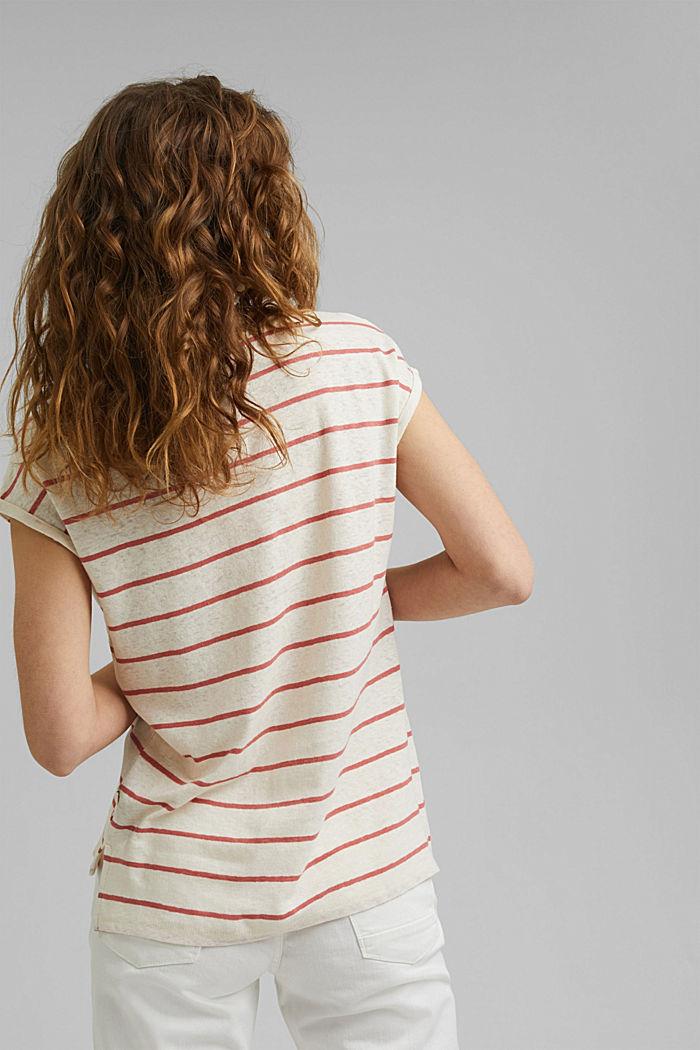 Met linnen: T-shirt met strepen, OFF WHITE, detail image number 3