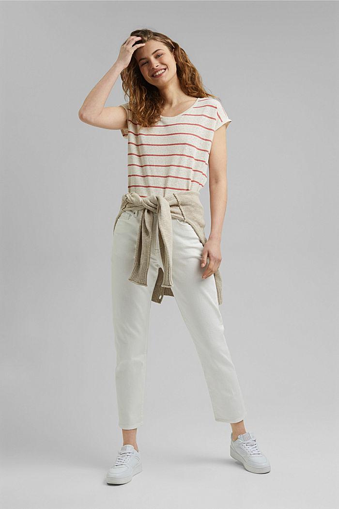 Met linnen: T-shirt met strepen, OFF WHITE, detail image number 1