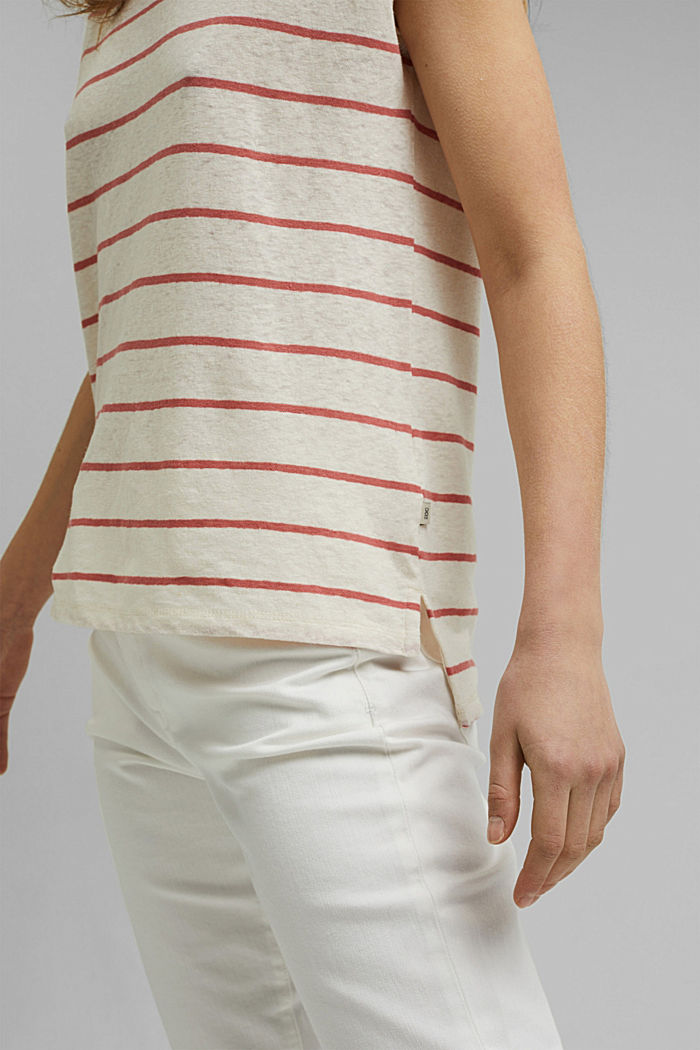 Met linnen: T-shirt met strepen, OFF WHITE, detail image number 2