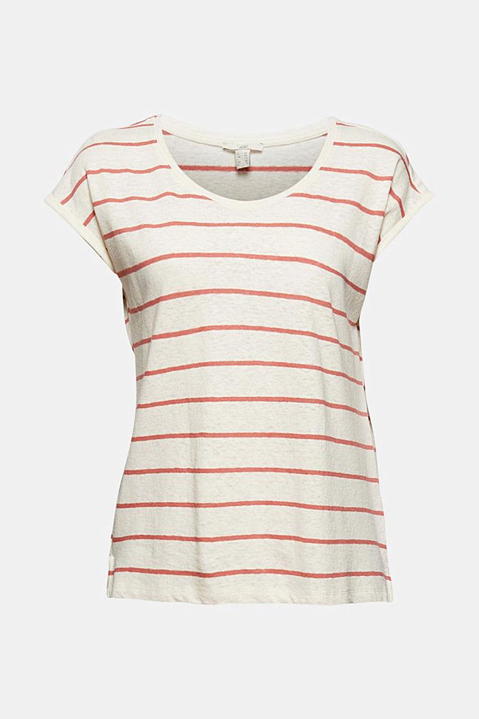 Mit Leinen: T-Shirt mit Streifen