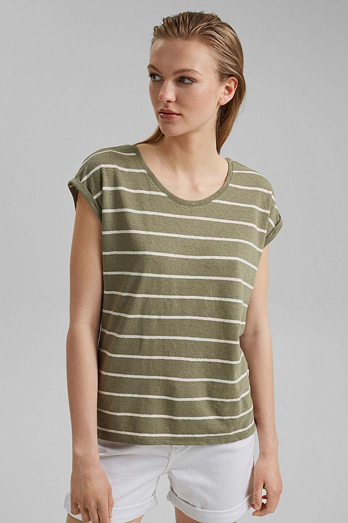 À teneur en lin: le t-shirt à rayures, LIGHT KHAKI, detail image number 0