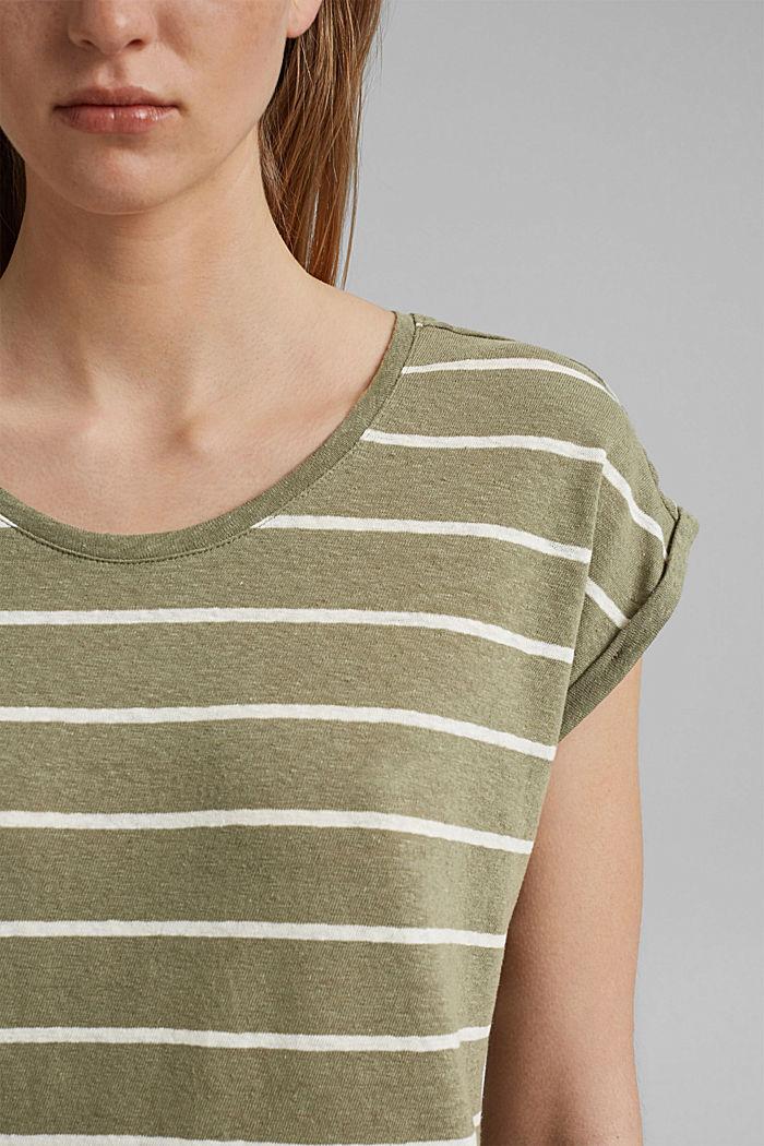 À teneur en lin: le t-shirt à rayures, LIGHT KHAKI, detail image number 2