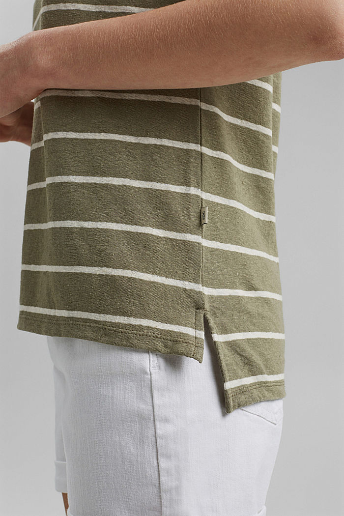 Met linnen: T-shirt met strepen, LIGHT KHAKI, detail image number 5