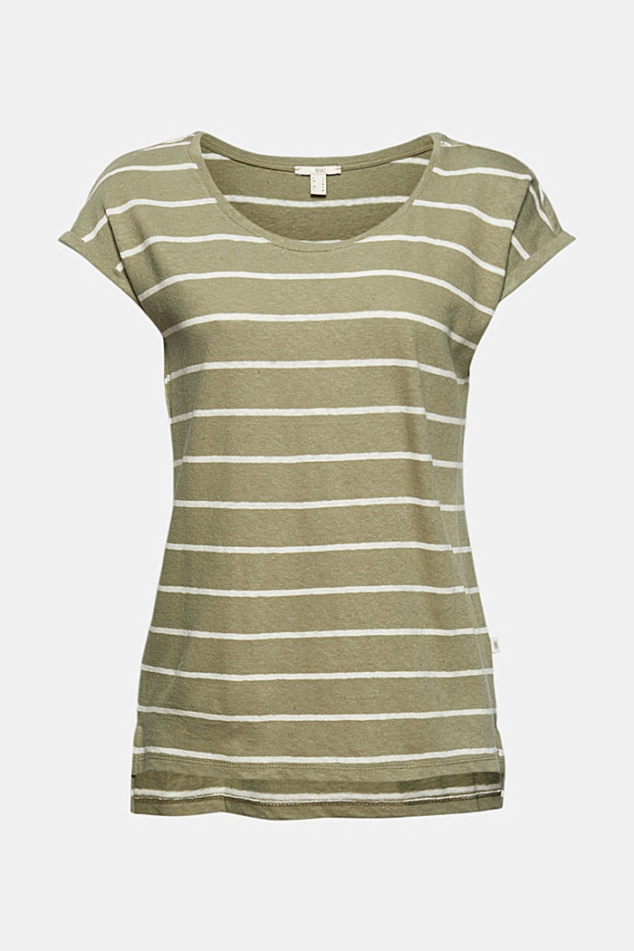 Met linnen: T-shirt met strepen, LIGHT KHAKI, overview