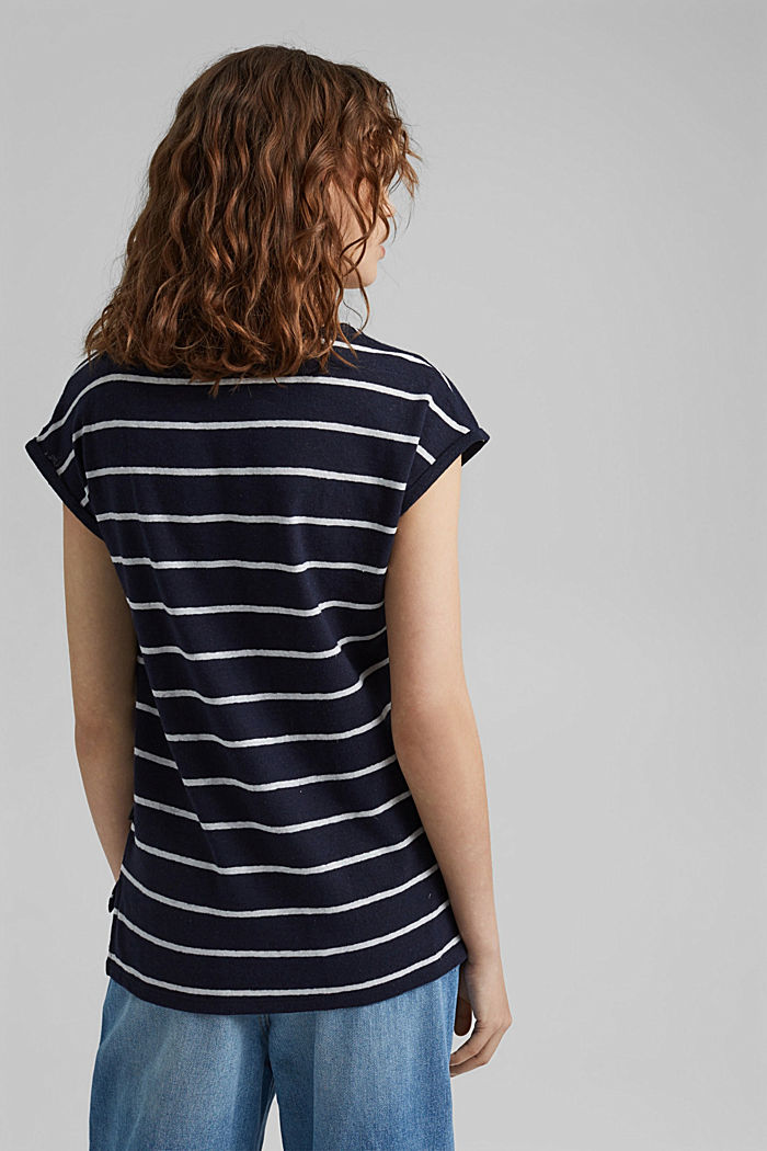 Con lino: camiseta a rayas, NAVY, detail image number 3