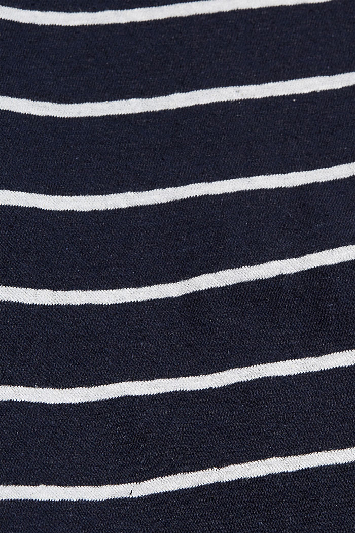 Con lino: camiseta a rayas, NAVY, detail image number 4