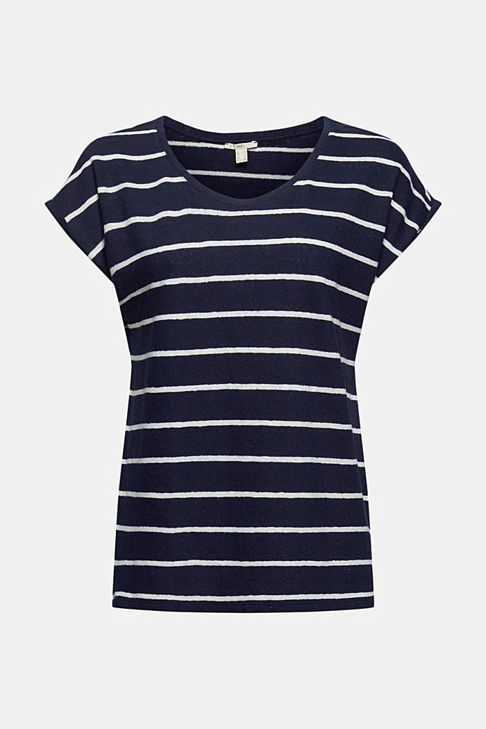 Con lino: camiseta a rayas, NAVY, detail image number 6