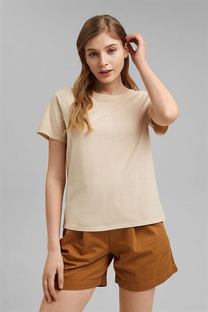 Printed T-shirt, 100% organic cotton, BEIGE, detail image number 0