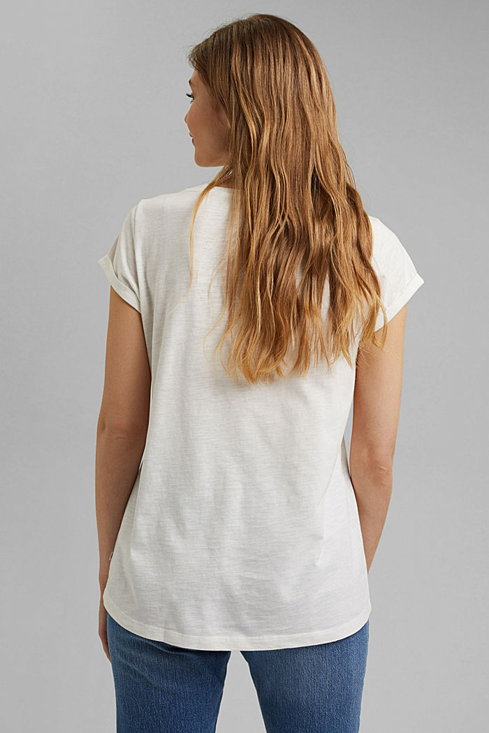 Recycled: Print t-shirt with organic cotton, OFF WHITE, detail image number 3