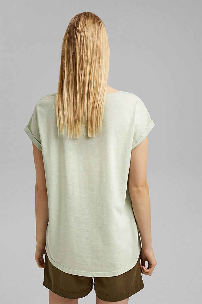 Recycled: Print t-shirt with organic cotton, PASTEL GREEN, detail image number 3