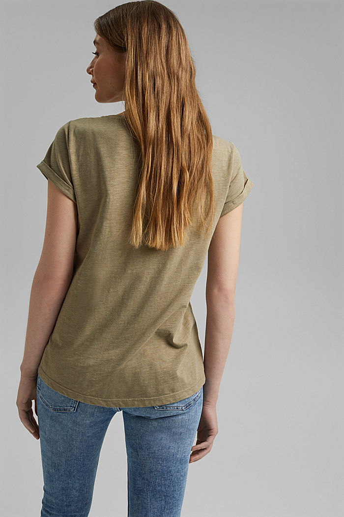 Recycled: Print t-shirt with organic cotton, LIGHT KHAKI, detail image number 3