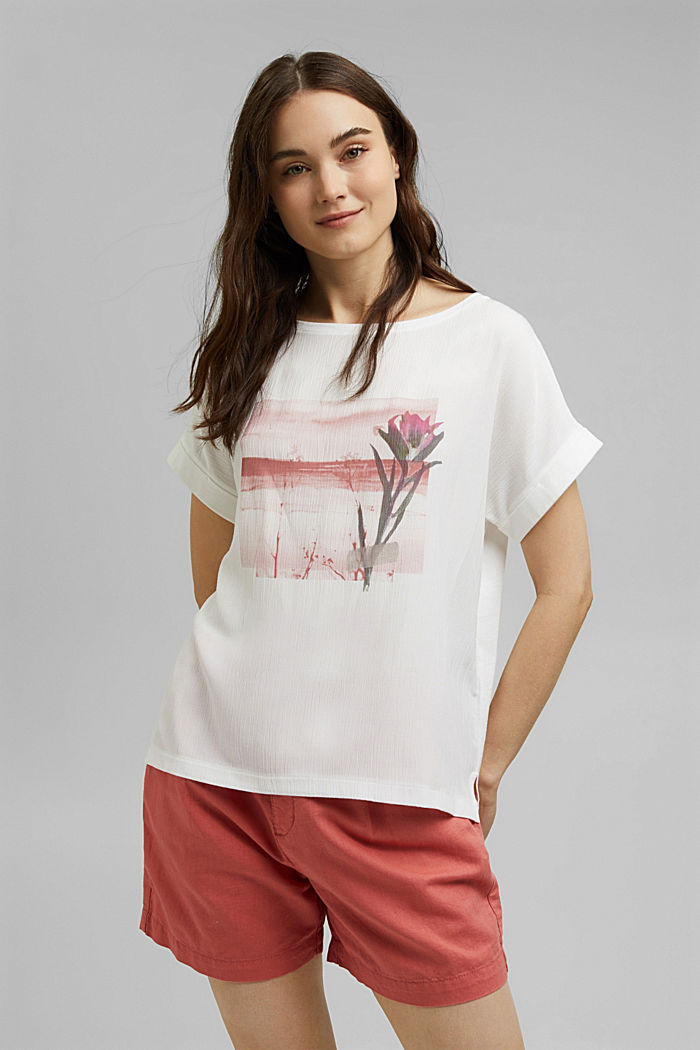 Printed material mix T-shirt, OFF WHITE, detail image number 0