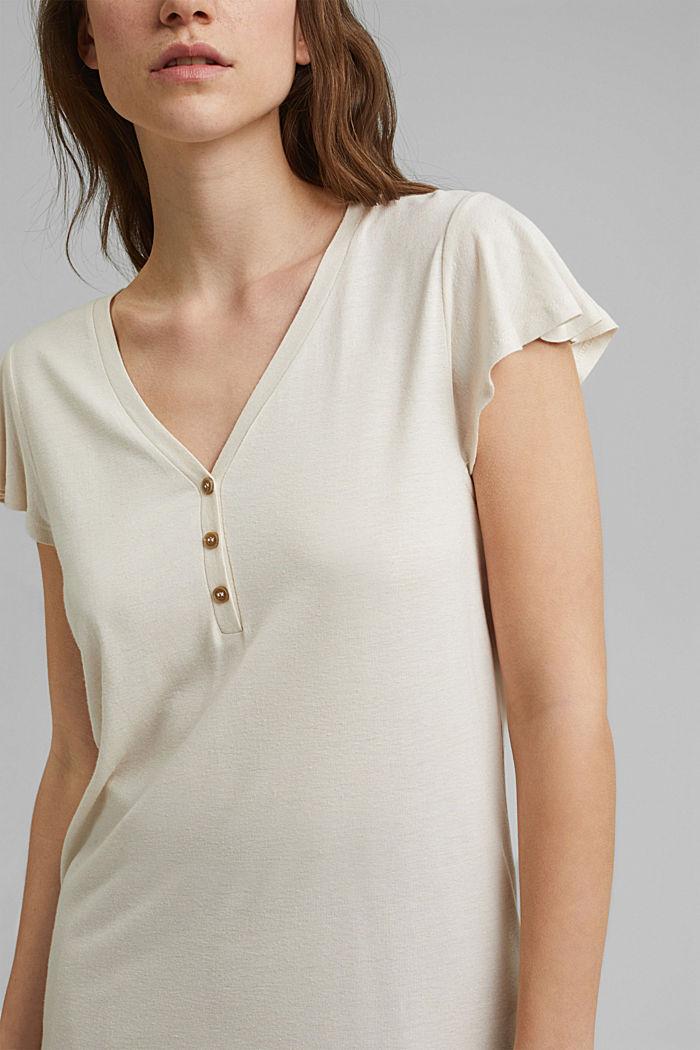 Con lino: t-shirt con bottoni, LIGHT BEIGE, detail image number 2
