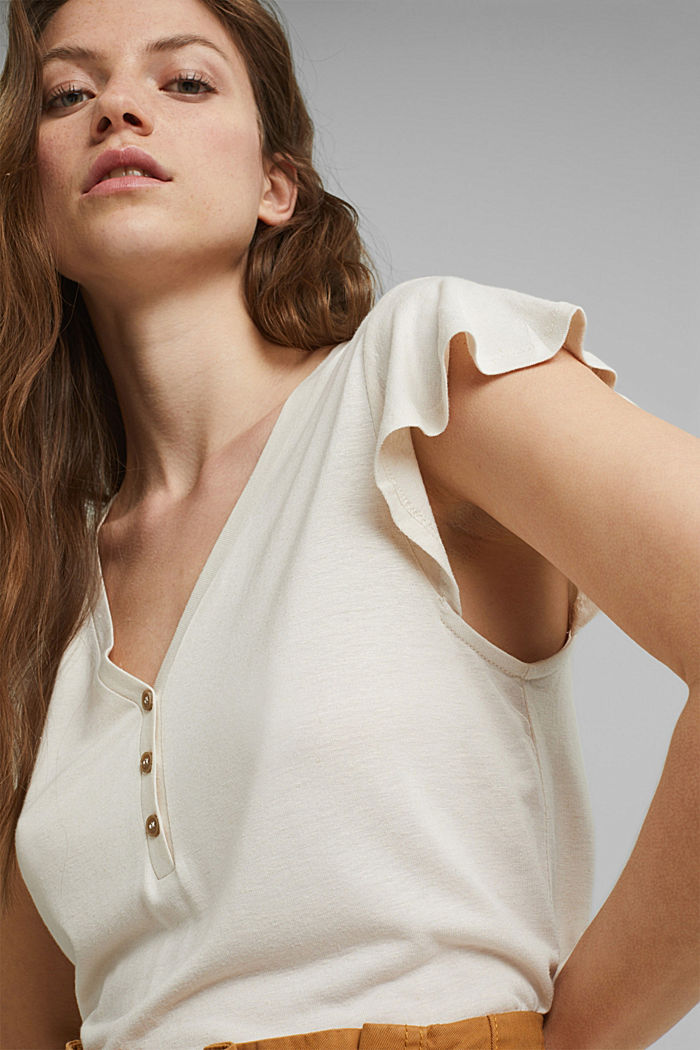 Con lino: t-shirt con bottoni, LIGHT BEIGE, detail image number 5