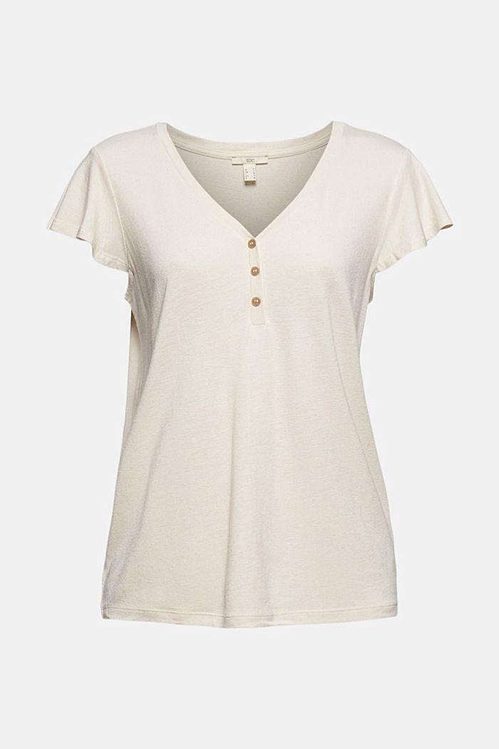 Con lino: t-shirt con bottoni, LIGHT BEIGE, detail image number 6