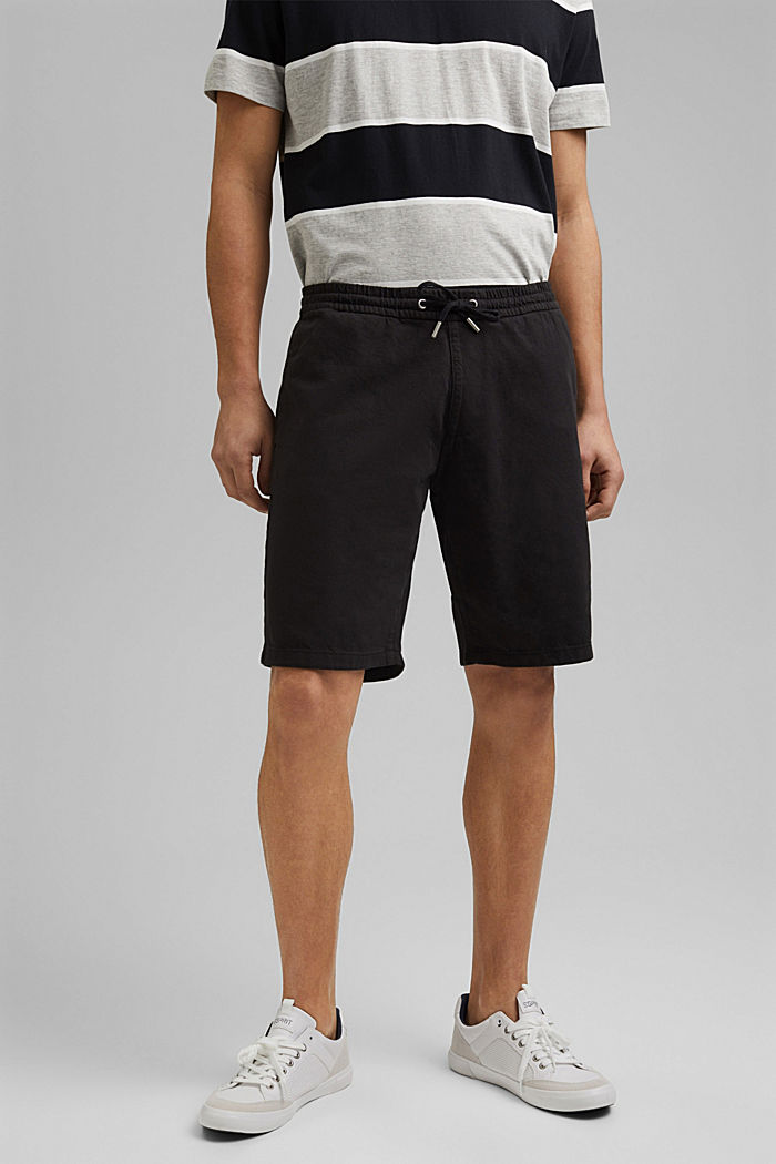 Cotton shorts with an elasticated waistband, ANTHRACITE, detail image number 0