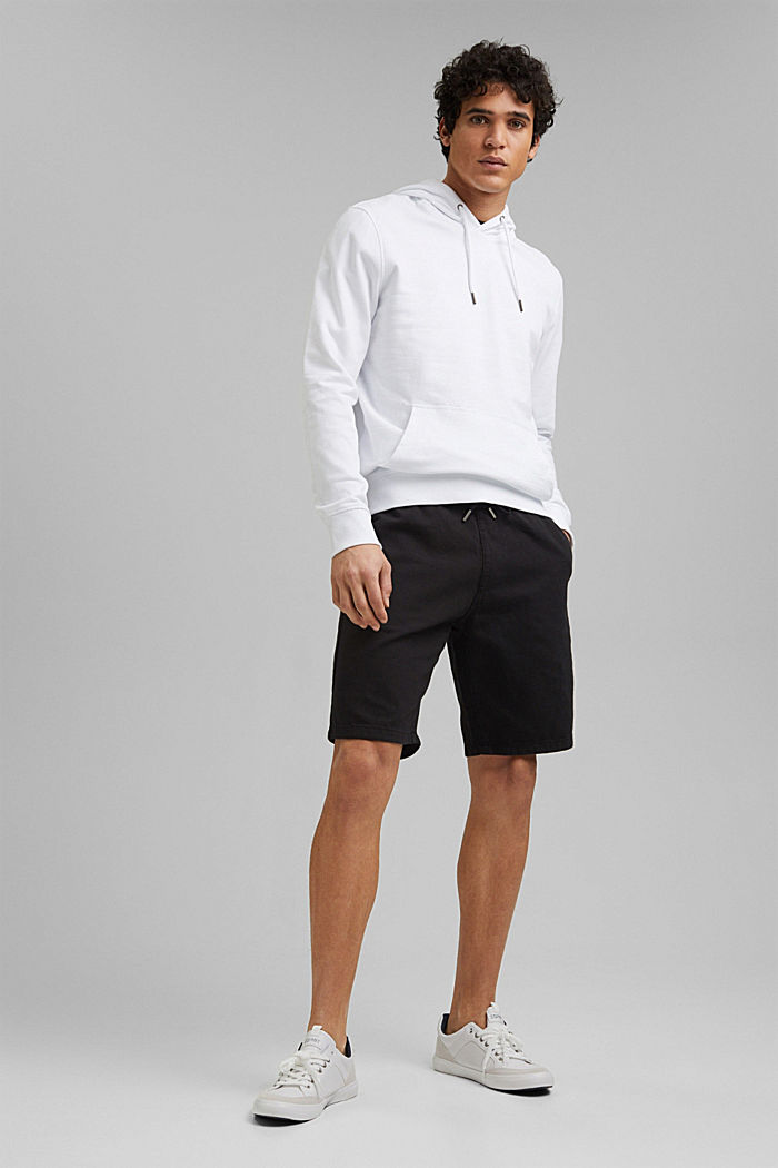 Cotton shorts with an elasticated waistband, ANTHRACITE, detail image number 1
