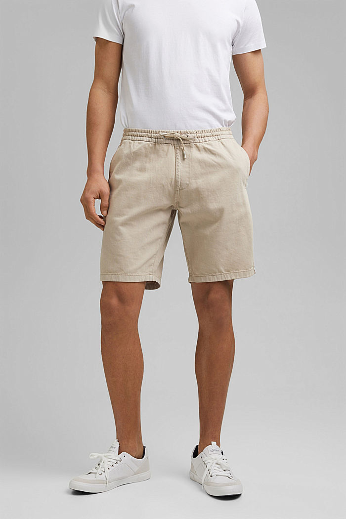 Cotton shorts with an elasticated waistband, LIGHT BEIGE, detail image number 0