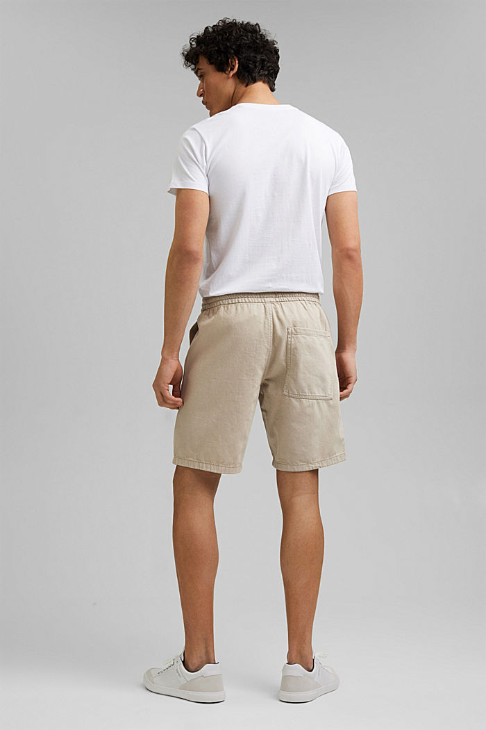 Cotton shorts with an elasticated waistband, LIGHT BEIGE, detail image number 3
