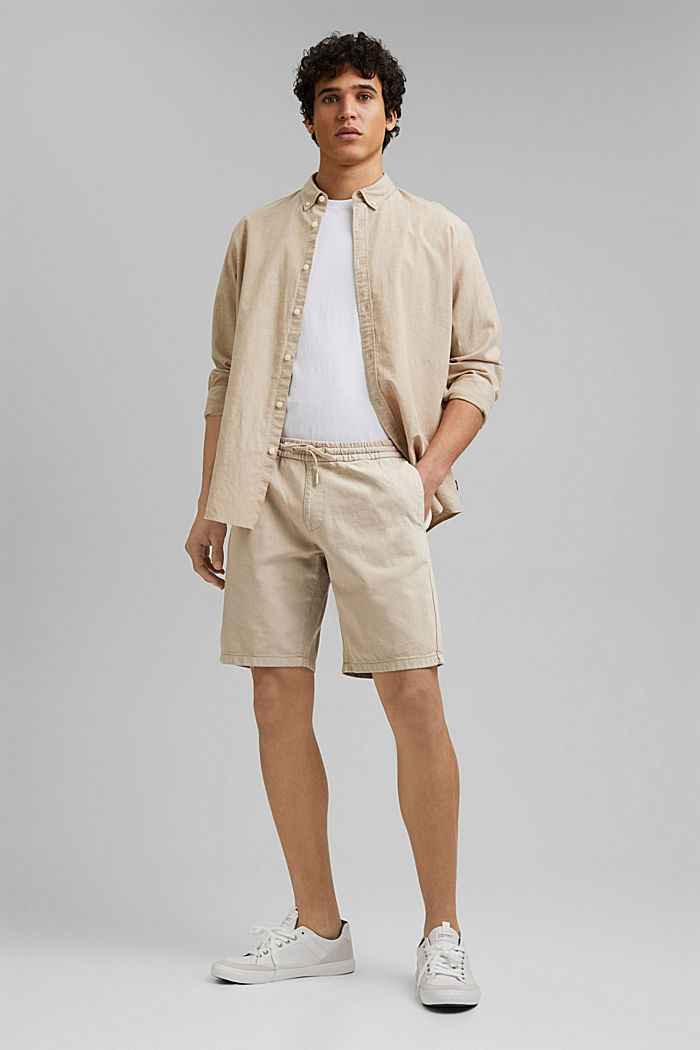 Cotton shorts with an elasticated waistband, LIGHT BEIGE, detail image number 1