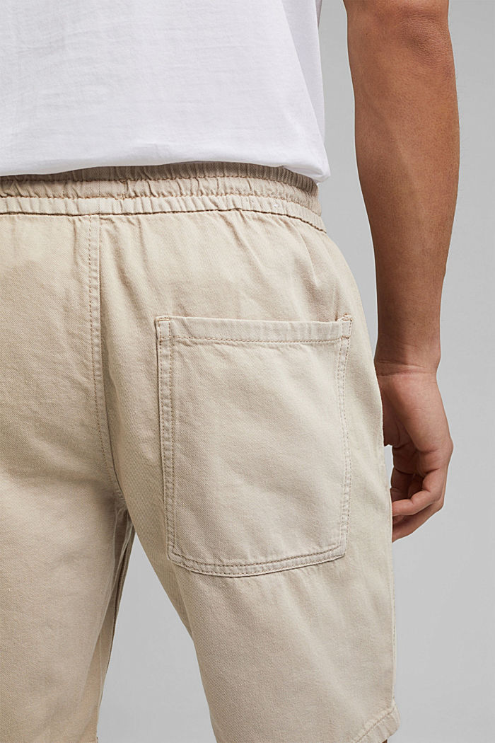 Cotton shorts with an elasticated waistband, LIGHT BEIGE, detail image number 5