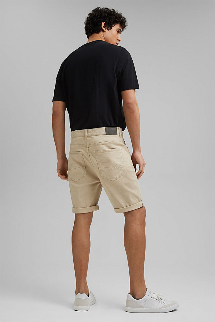 Twill shorts made of stretch cotton, LIGHT BEIGE, detail image number 3