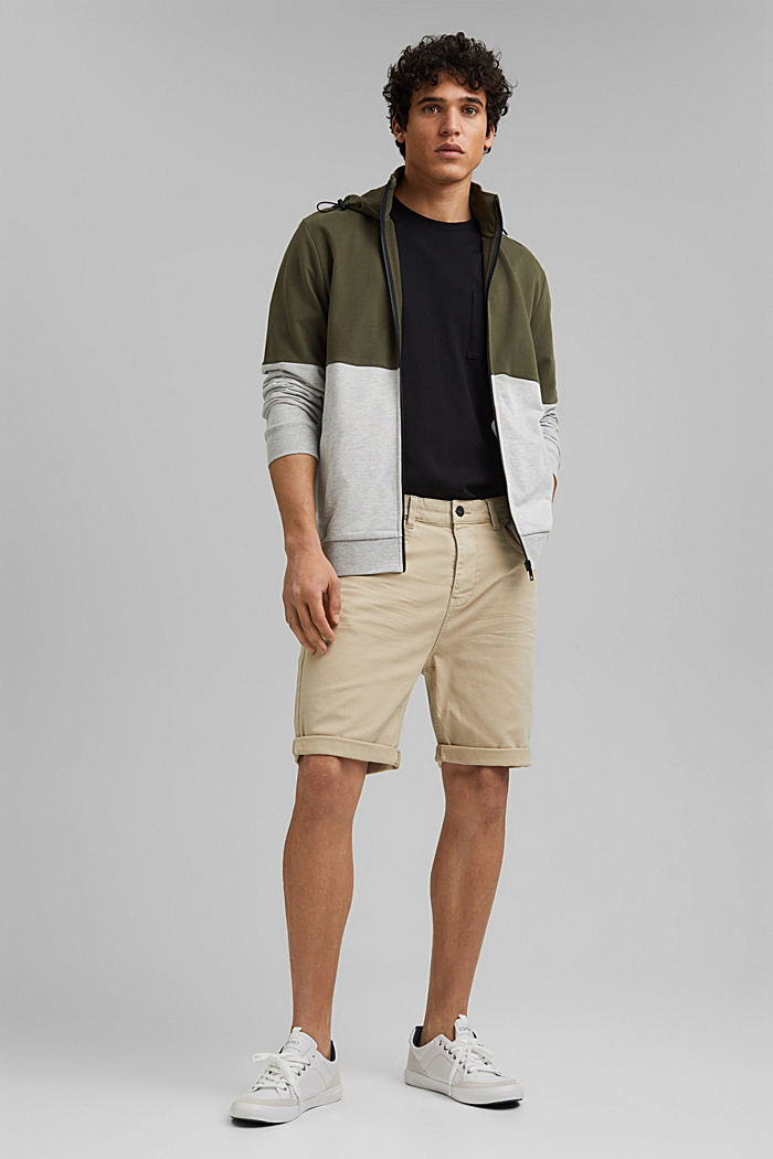 Twill shorts made of stretch cotton, LIGHT BEIGE, detail image number 1