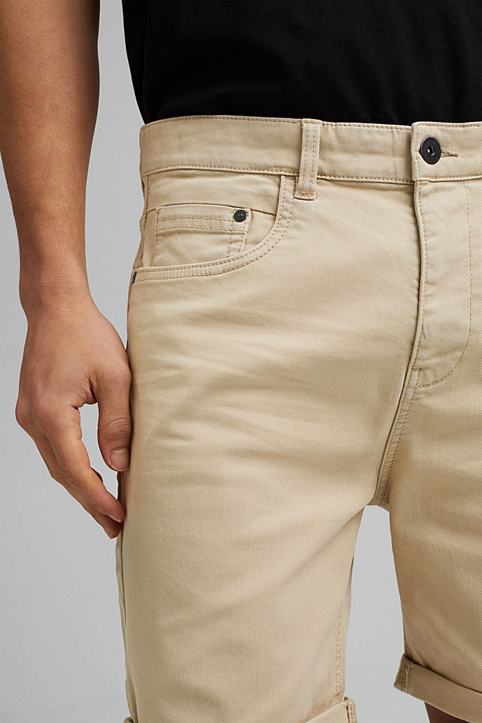 Twill shorts made of stretch cotton, LIGHT BEIGE, detail image number 2