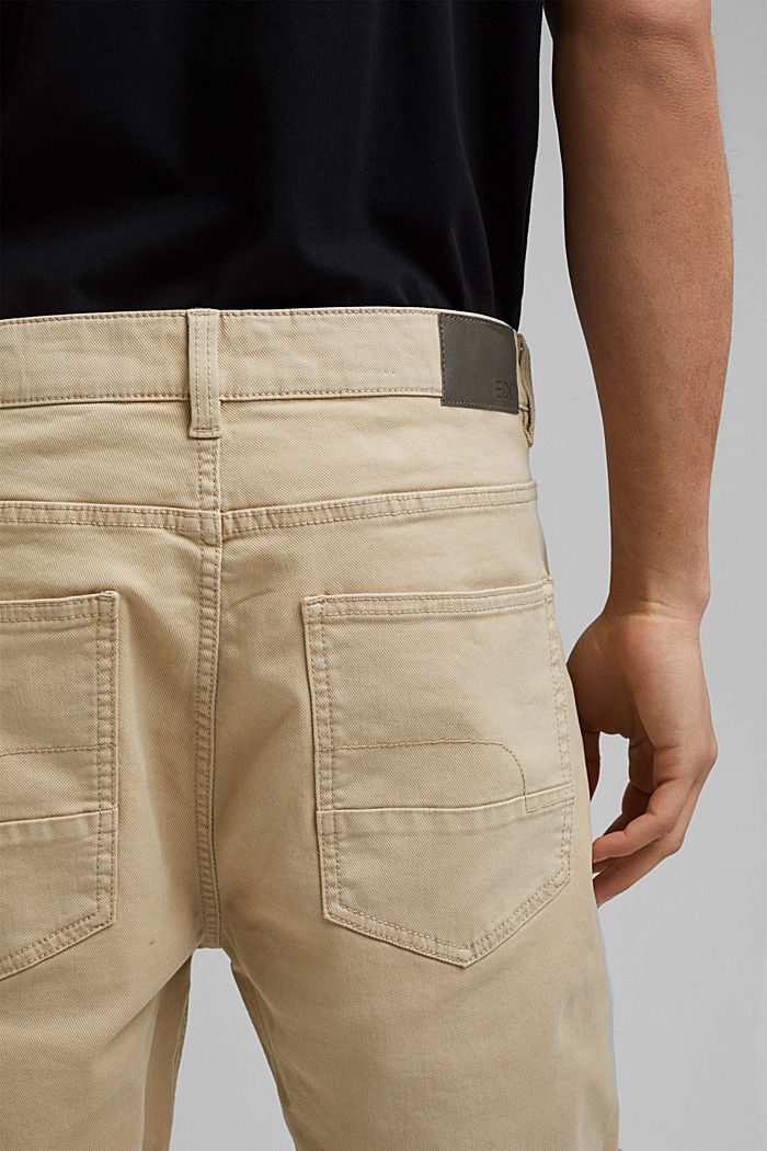 Twill shorts made of stretch cotton, LIGHT BEIGE, detail image number 5