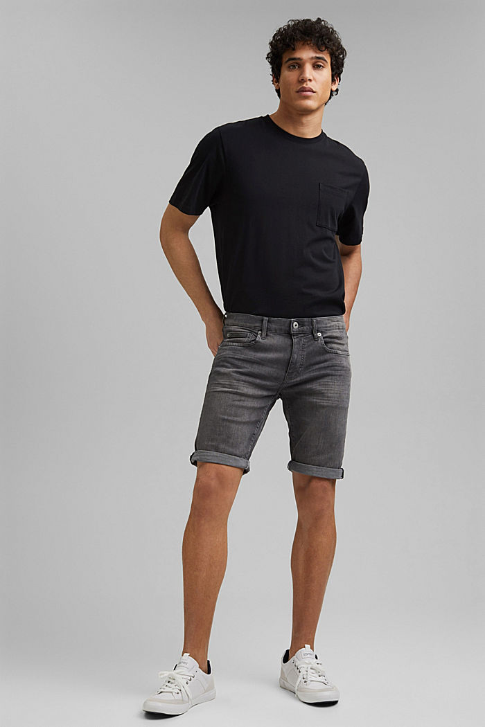 Denim shorts with organic cotton, GREY MEDIUM WASHED, overview