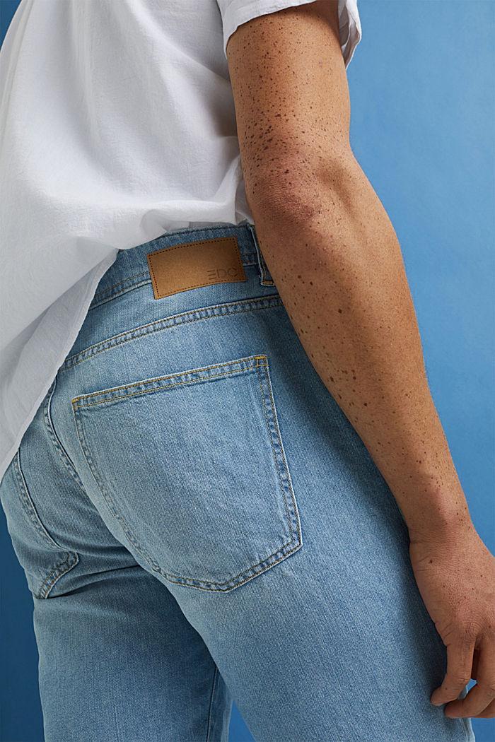 Gerecycled: denim short van katoen/hennep, BLUE BLEACHED, detail image number 2