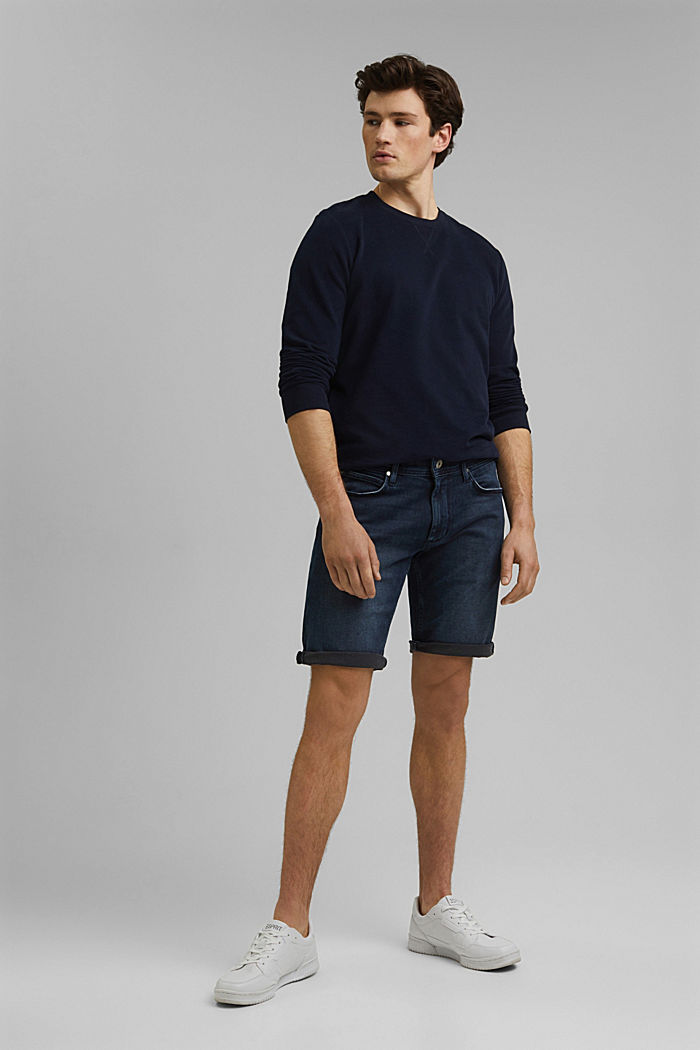 Denim shorts made of organic cotton, BLUE DARK WASHED, overview