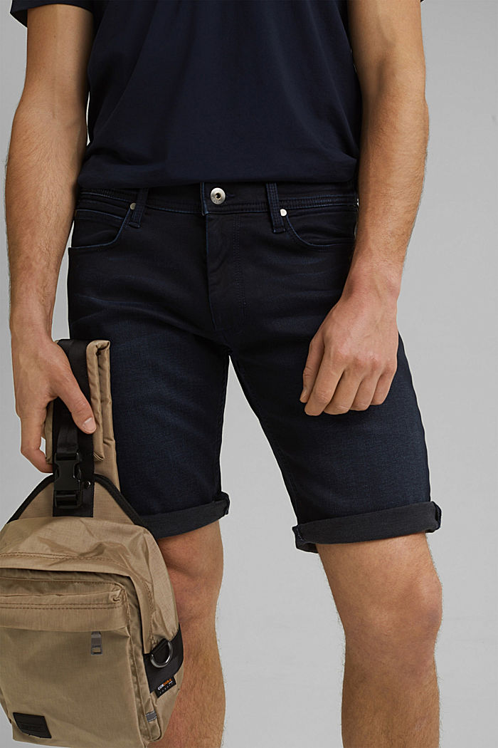 Denim shorts made of organic cotton, NEW BLUE DARK WASHED, detail image number 2