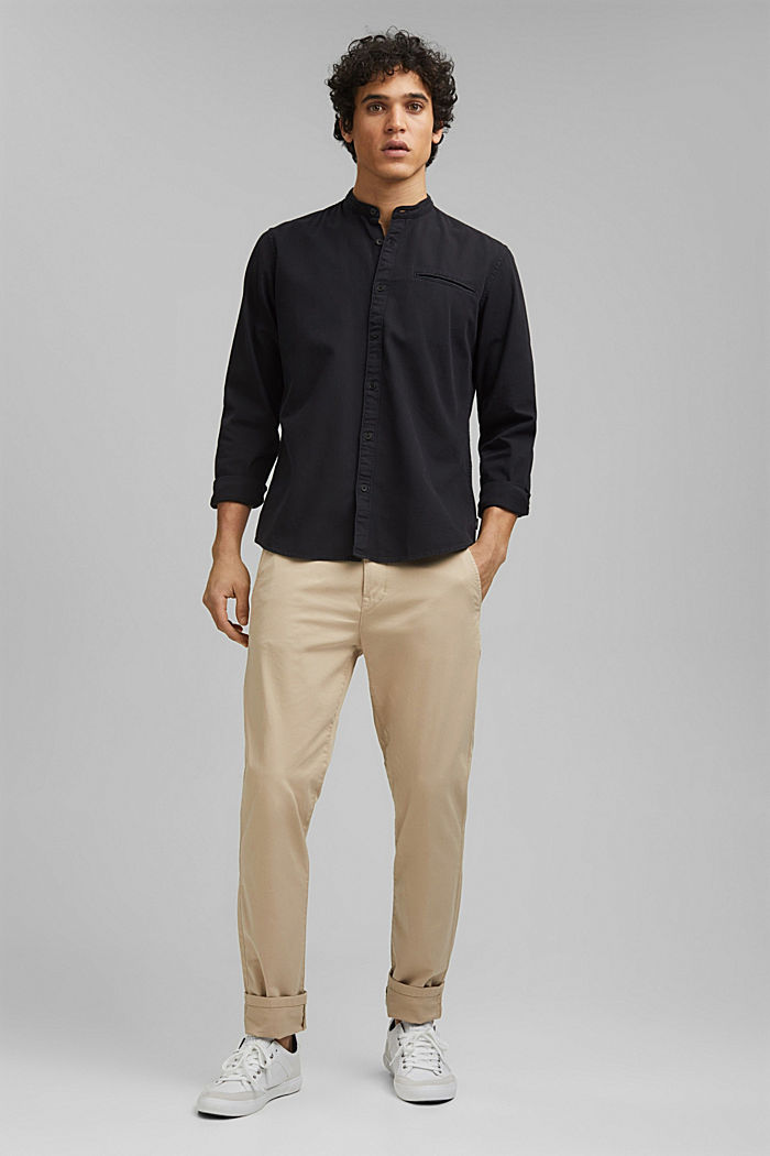 Denim-look shirt, organic cotton, ANTHRACITE, detail image number 1