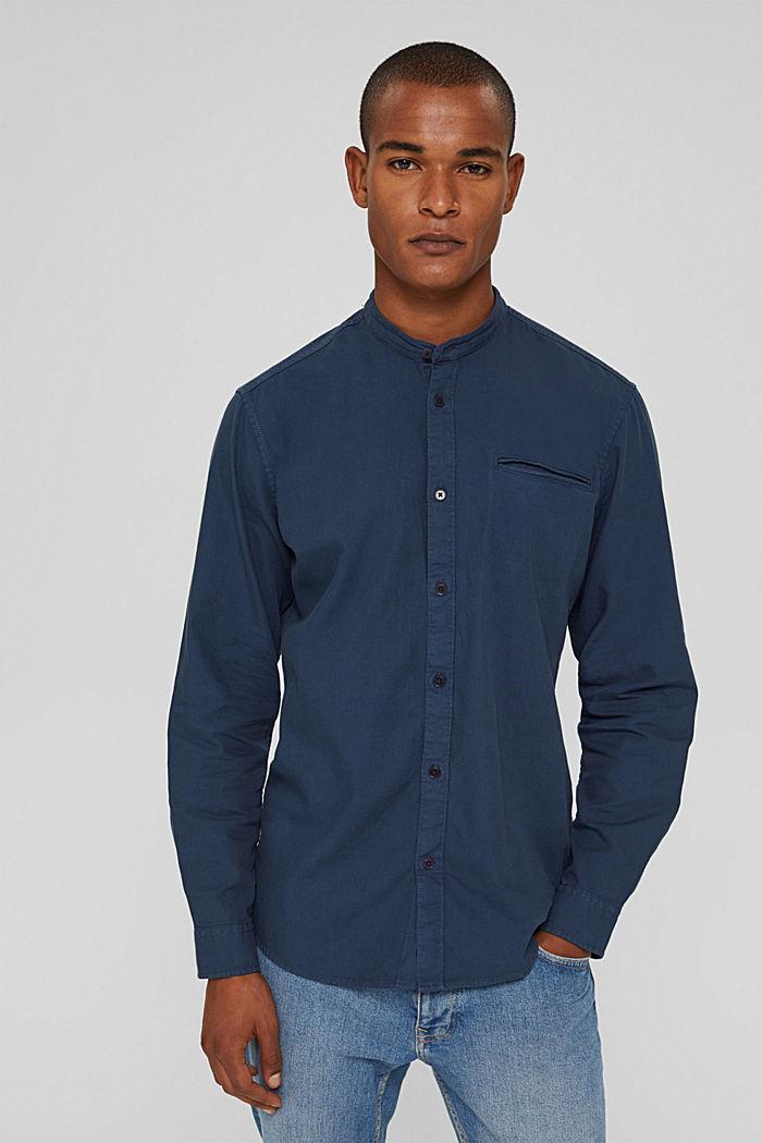 Denim-look shirt, organic cotton, NAVY, detail image number 0