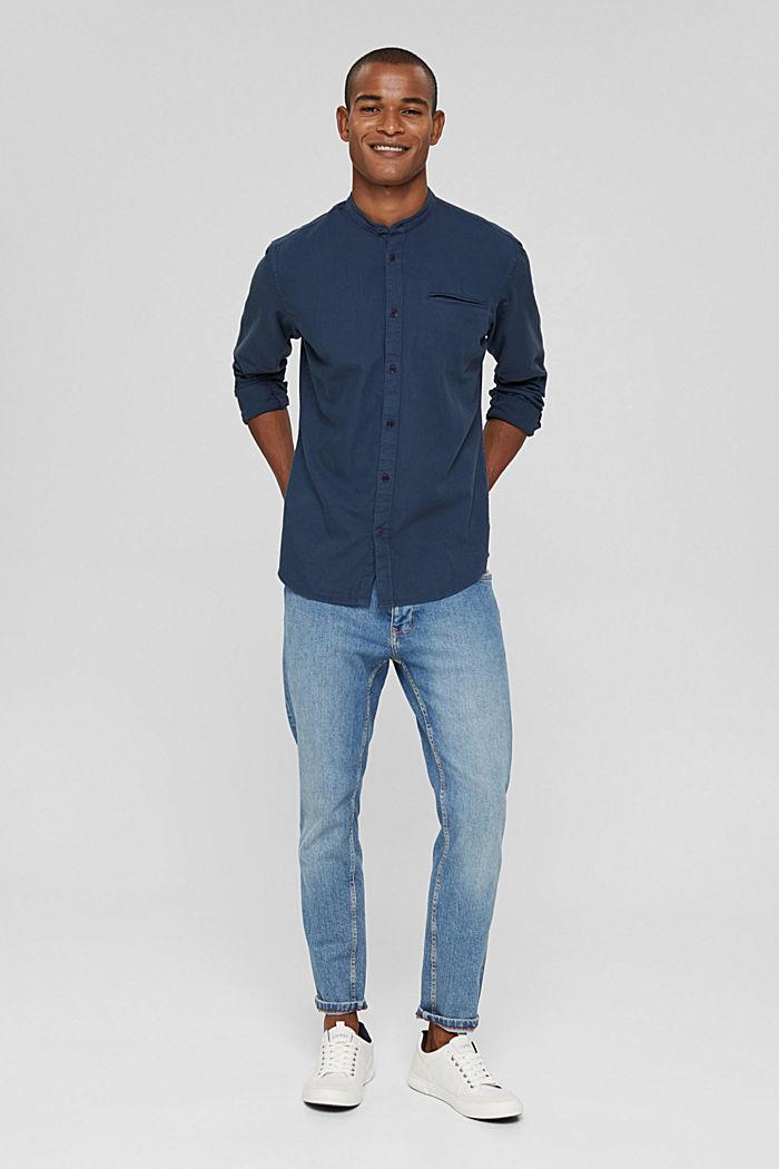 Denim-look shirt, organic cotton, NAVY, detail image number 1