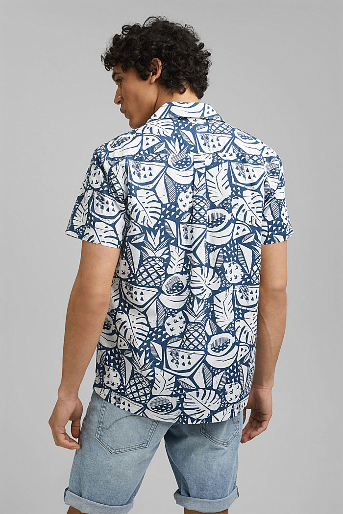 Short-sleeved shirt with print, organic cotton, BLUE, detail image number 3