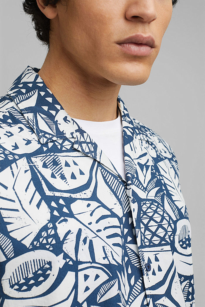 Short-sleeved shirt with print, organic cotton, BLUE, detail image number 2