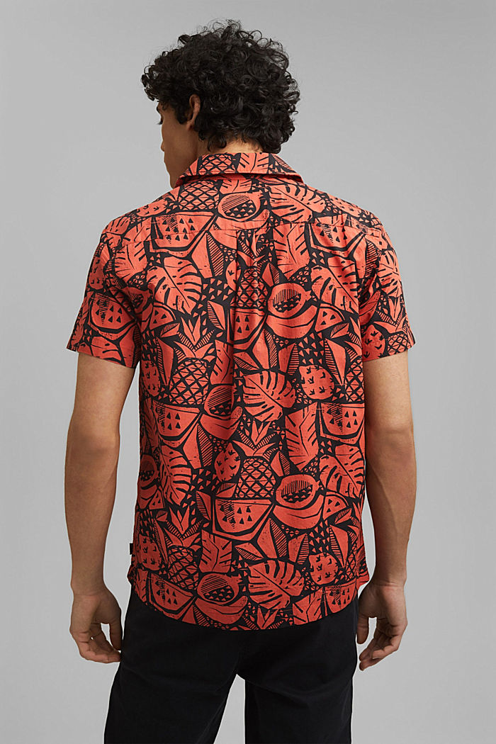 Short-sleeved shirt with print, organic cotton, CORAL, detail image number 3