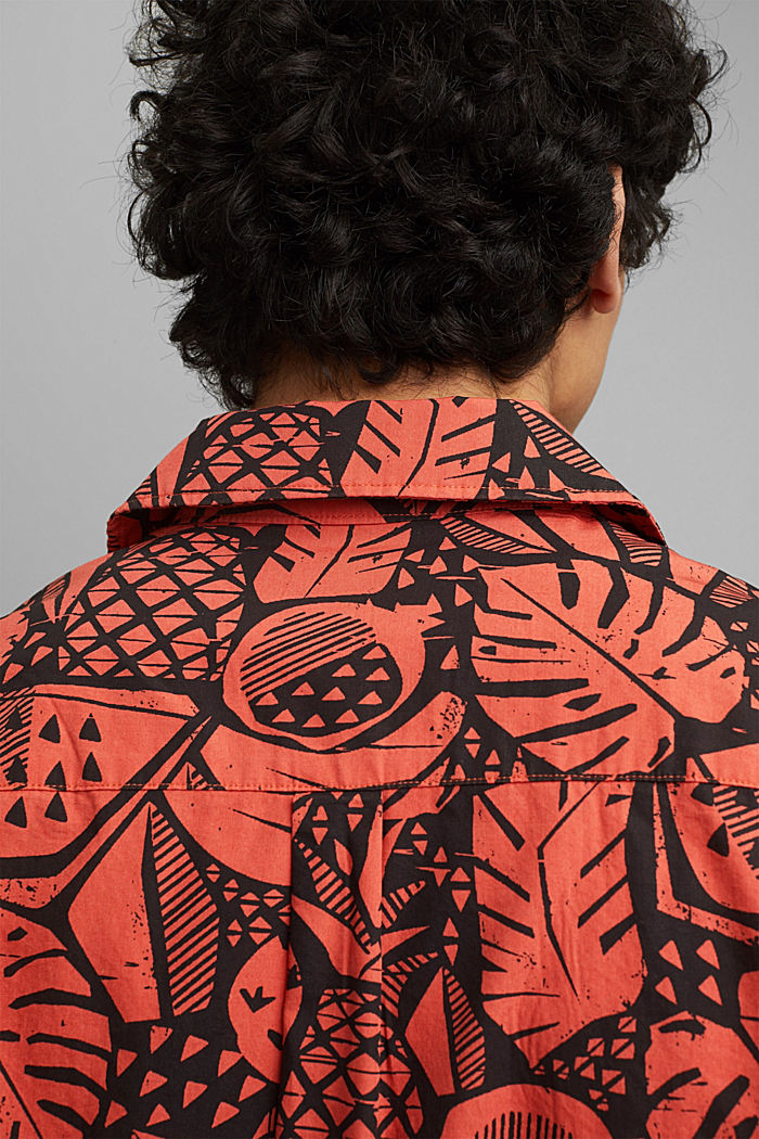 Short-sleeved shirt with print, organic cotton, CORAL, detail image number 2