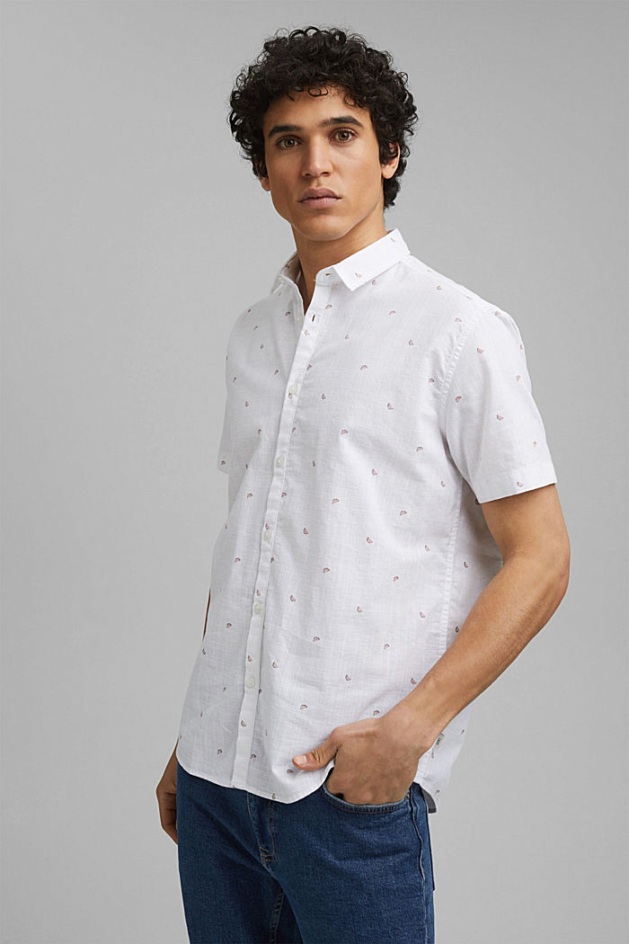 Short-sleeved shirt with print, organic cotton, WHITE, detail image number 0