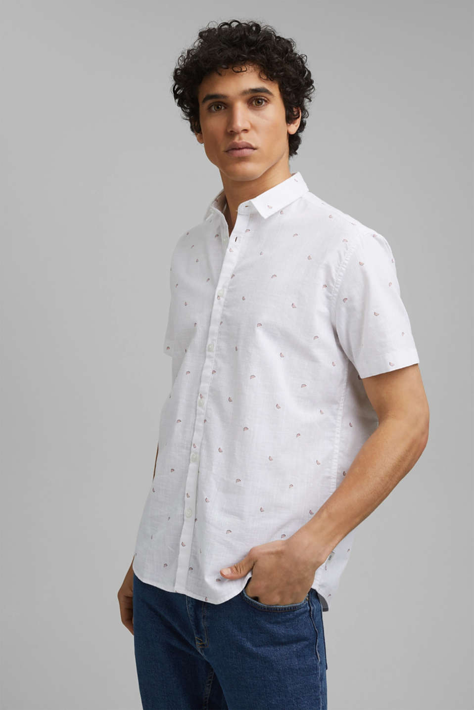 edc - Short-sleeved shirt with print, organic cotton