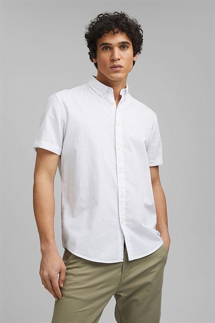 Aus Bio-Baumwolle/Leinen: Kurzarm-Hemd, WHITE, detail image number 0