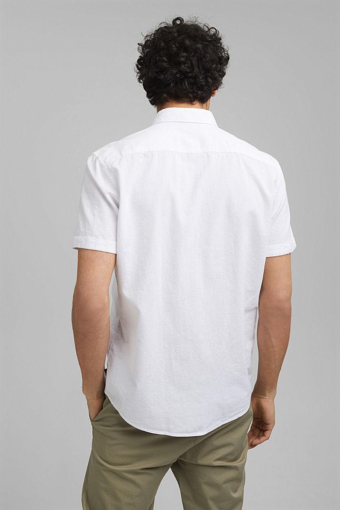 Aus Bio-Baumwolle/Leinen: Kurzarm-Hemd, WHITE, detail image number 3