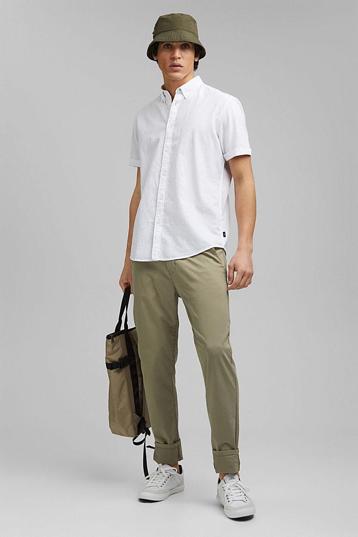 Aus Bio-Baumwolle/Leinen: Kurzarm-Hemd, WHITE, detail image number 1